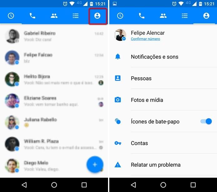 Acessando as configurações do Facebook Messenger (Foto: Felipe Alencar/TechTudo)