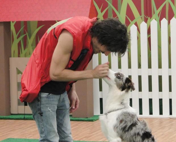 Fiuk e Gaia treinam pesado nesta quarta-feira (Foto: Domingão do Faustão / TV Globo)