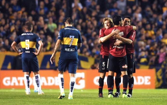 Comemoração do Newells contra o Boca Juniors (Foto: Agência AFP)