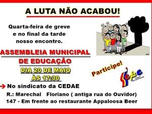 Cartaz de convovação da reunião foi fixada na entrada das unidades escolares (Foto: Divulgação/Sepe)