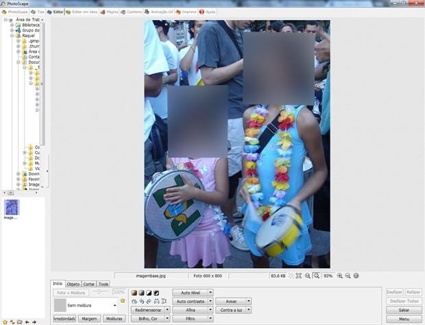Tela inicial do Photoscape com a foto sem efeito (Foto: Reprodução/Raquel Freire)