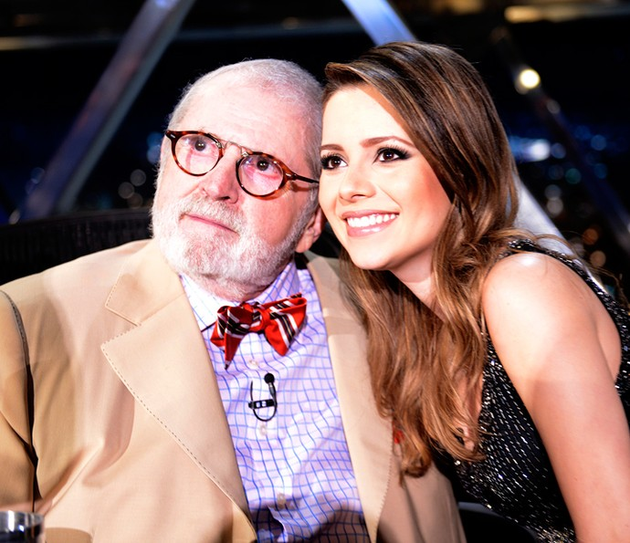 Sandy com o apresentador Jô Soares (Foto: Ricardo Martins/Programa do Jô)