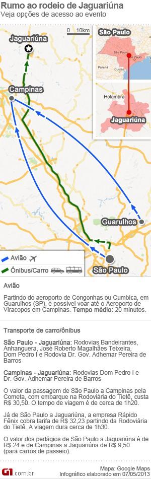 Mapa mostra como chegar ao Rodeio de Jaguariúna (Foto: Arte / G1)
