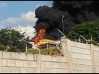 Incêndio atinge três carretas em pátio de transportadora na Grande BH