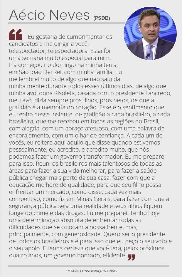 Aécio Neves - considerações finais (Foto: Arte/G1)