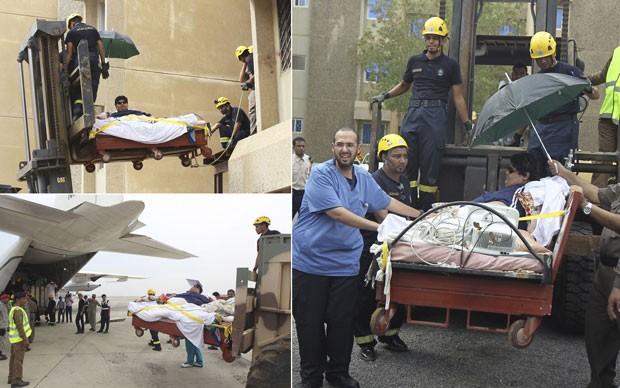 Khaled Mohsen Chairi foi levado de empilhadeira até embarcar pela traseira no compartimento de carga de um avião (Foto: Faisal Al Nasser/Reuters)