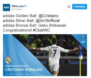 cristiano ronaldo eleito o melhor da final do mundial (Foto: Reprodução/Twitter)