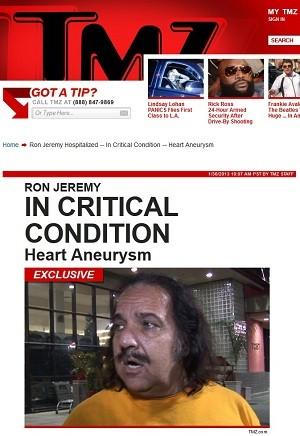 Astro pornô Ron Jeremy está em internado em estado grave (Foto: Reprodução/TMZ)