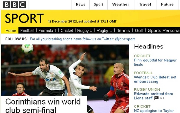 BBC destaca vitória do Corinthians (Foto: Reprodução/BBC)