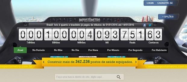 Impostômetro chegou à marca dos R$ 100 bilhões nesta quinta (Foto: Reprodução)