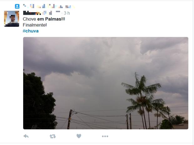 Moradores comemoram chuva em Palmas nas redes sociais (Foto: Reprodução/Twitter)