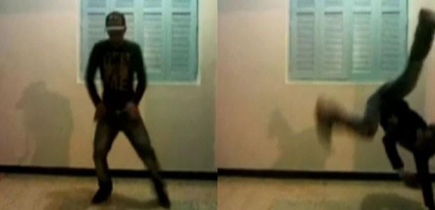 Atirador dança break em vídeo postado por amigos (Foto: GloboNews)