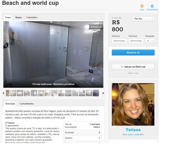 Tatiana vai fatura R$ 10 mil alugando apartamento na Copa (Foto: Reprodução)