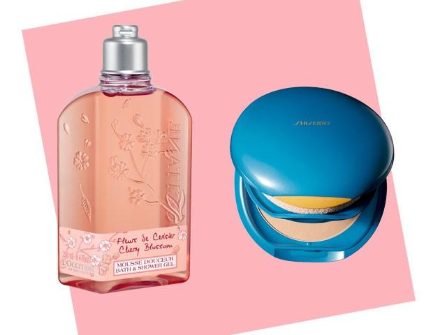 Sabonete Líquido para corpo Flor de Cerejeira, L'Occitane en provence, R$ 93/ Base compacta Suncare, Shiseido  (Foto: Divulgação)