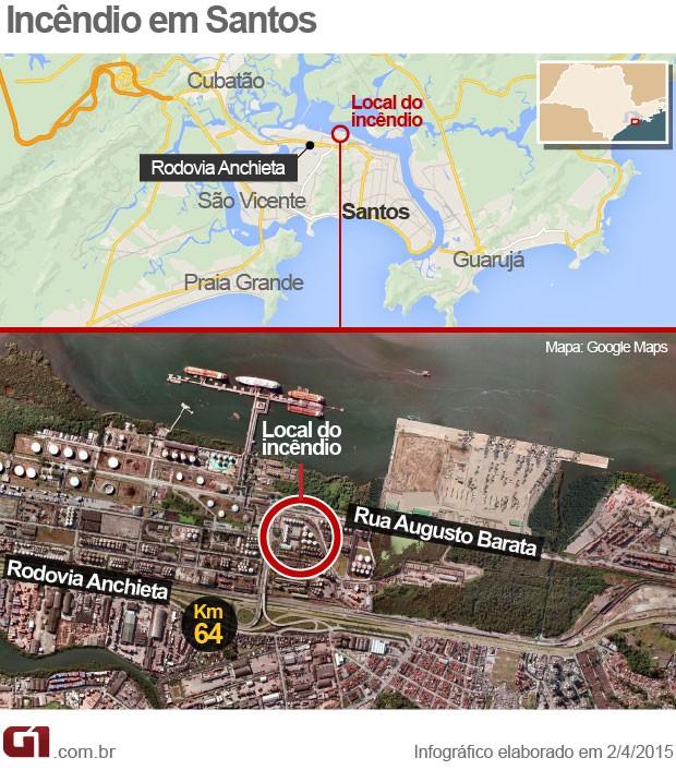 Mapa mostra local onde incêndio começou na manhã desta quinta-feira (Foto: Arte/G1)
