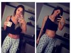 Lizi Benites mostra crescimento da barriga durante gravidez