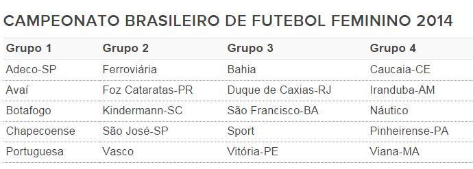 Times Brasileiro Futebol Feminino 2014 (Foto: Divulgação)