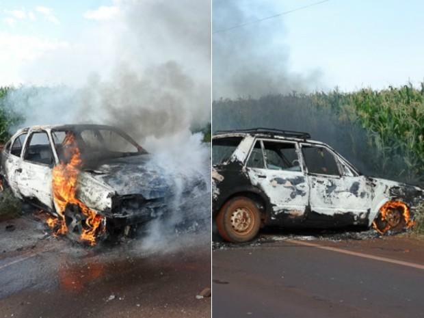 Defesa Civil apagou o fogo e retirou os carros incendiados da estrada (Foto: Rafael Rosa / Correio do Lago)
