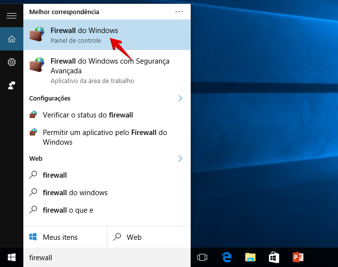 Abra as configurações do firewall do Windows (Foto: Reprodução/Helito Bijora)