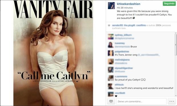 Khloe Kardashian comenta a capa de Caitlyn Jenner (Foto: Instagram / Reprodução)