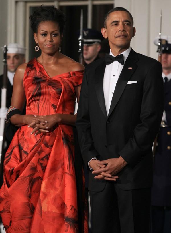 Michelle Obama e Barack Obama recebem o presidente da China, Hu Jintao, em 2011 (Foto: Getty Images)