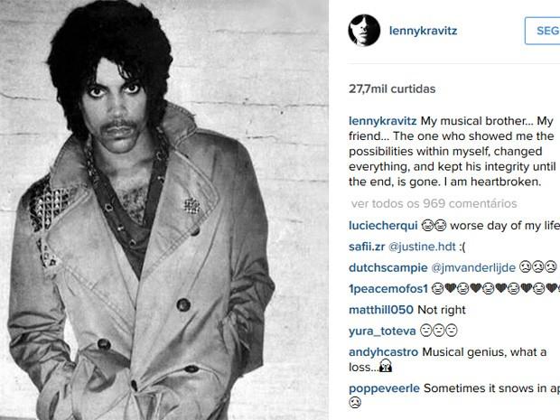 O cantor Lenny Kravitz lamenta a morte de Prince em seu Instagram (Foto: Reprodução/Instagram)