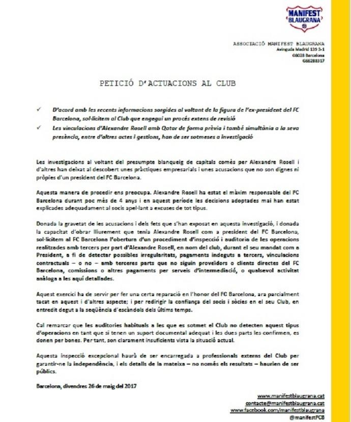Manifest Blaugrana pede investigação sobre gestão de Rosell