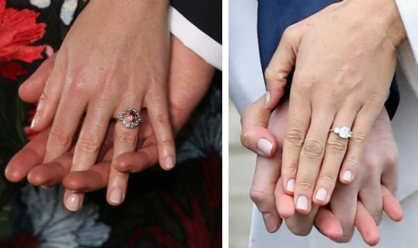 O anel de noivado da Princesa Eugene e o anel de Meghan Markle dado pelo Príncipe Harry (Foto: Getty Images)