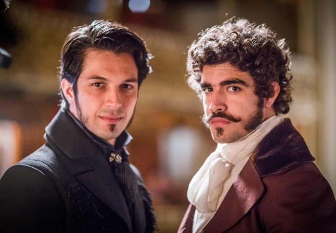 Chalaça e Dom Pedro serão interpretados por Romulo Estrela e Caio Castro, respectivamente (Foto: Globo/ Paulo Belote)