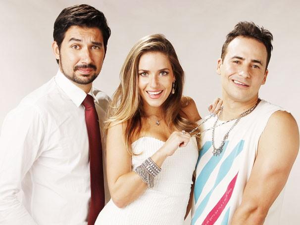 Victor Frade, Monique Alfradique e Marcos Nauer na peça  (Foto: Divulgação)