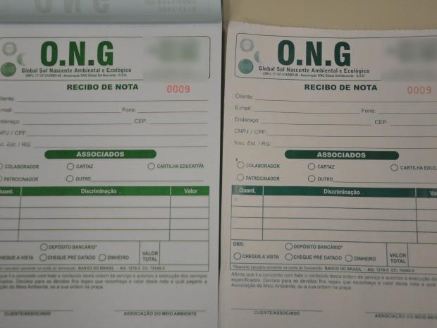 O bloco de recibos de notas da ONG foi clonado na gráfica, segundo a Polícia Civil. (Foto: Amanda Sampaio/G1)