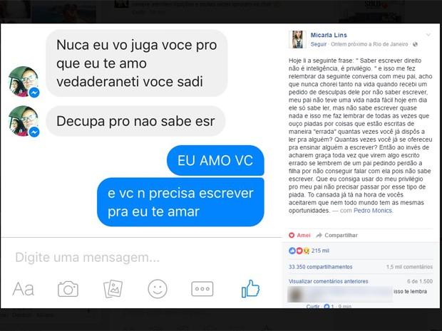 Estudante compartilhou no Facebook declaração do pai semianalfabeto e post comoveu a internet (Foto: Reprodução/Facebook)