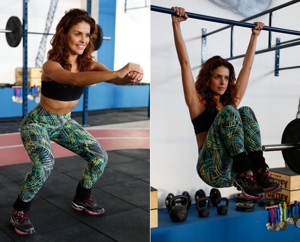 Paloma mostra força: ela consegue se pendurar só pelos braços (Foto: Artur Meninea / TV Globo)
