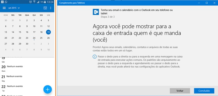 Integração da agenda e e-mail do Outlook entre Android e Windows 10 (Foto: Reprodução/Barbara Mannara)