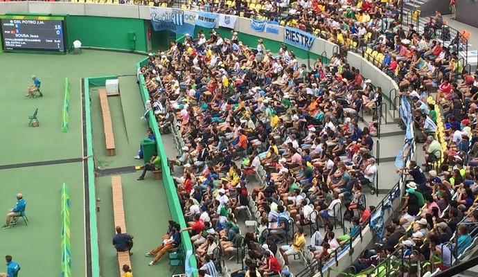 Bandeiras Argentina quadra central tênis Olimpíada Rio de Janeiro (Foto: Murilo Borges)