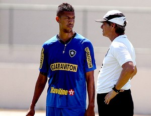 Ant&#244;nio Carlos e Oswaldo de Oliveira no treino do Botafogo (Foto: Cezar Loureiro / Ag&#234;ncia O Globo)