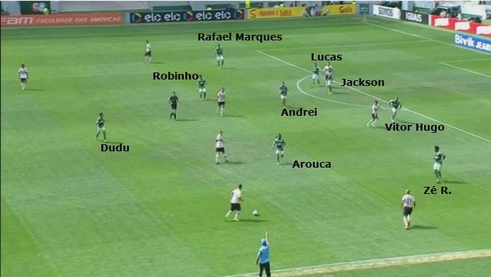 Palmeiras com nove jogadores atrás da linha da bola, esperando a hora de contra-atacar (Foto: GloboEsporte.com)