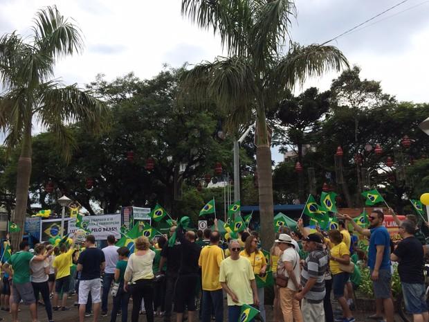 Bandeiraços na Praça Central de Chapecó marcam protestos contra corrupção (Foto: Divulgação)