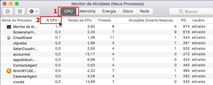 Acessando a guia CPU e classificando os processos por % CPU (Foto: Reprodução/Edivaldo Brito