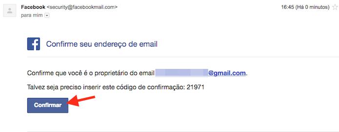 Confirmando o e-mail recebido pelo Facebook que confirma o novo endereço de e-mail adicionando (Foto: Reprodução/Marvin Costa) (Foto: Confirmando o e-mail recebido pelo Facebook que confirma o novo endereço de e-mail adicionando (Foto: Reprodução/Marvin Costa))