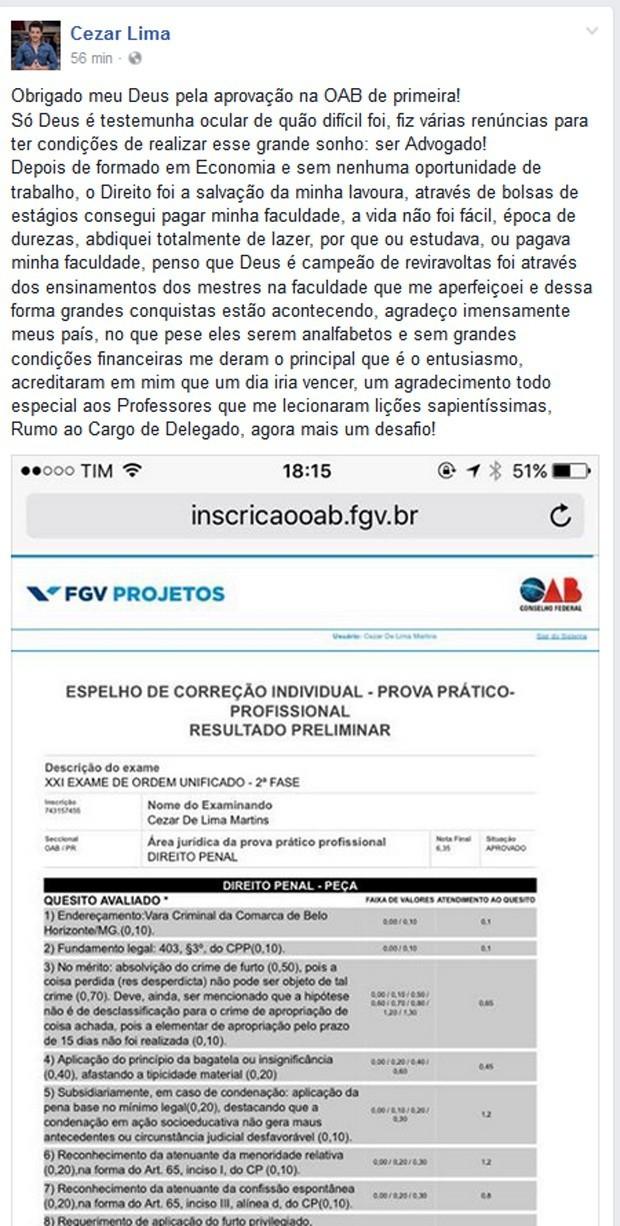 Cézar Lima fez post para falar sobre aprovação no exame da OAB (Foto: Reprodução / Facebook)