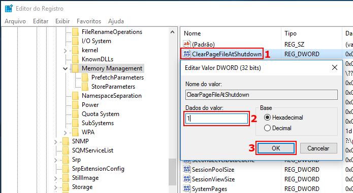 Configurando o Windows para limpar o arquivo de paginação ao desligar (Foto: Reprodução/Edivaldo Brito)