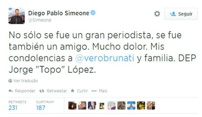 "Pelo Twitter, Diego Simeone lamentou a morte do jornalista argentino Jorge ""Topo"" López  (Foto: Reprodução / Twitter )"