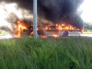 Ônibus foi incendiado nas proximidades do Terminal da Macaxeira, no Recife (Foto: Iraquitan Fernando/TV Globo)