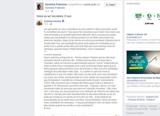 Soninha posta no Facebook que aceitou convite para assumir pasta de Doria (Foto: Reprodução/Facebook)