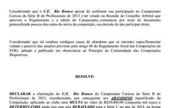 Após desistência, Rio Branco e Imperial são multados em R$ 50 mil