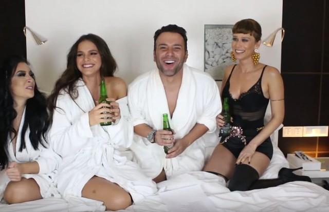 Bruna Marquezine e XImenes com Mat (Foto: Reprodução/YouTube)
