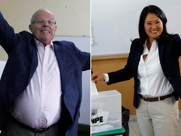Pedro Pablo Kuczynski e Keiko Fujimori, candidatos à presidência do Peru, votam neste domingo (5) (Foto: Guadalupe Pardo/Reuters; Mariana Bazo/Reuters)