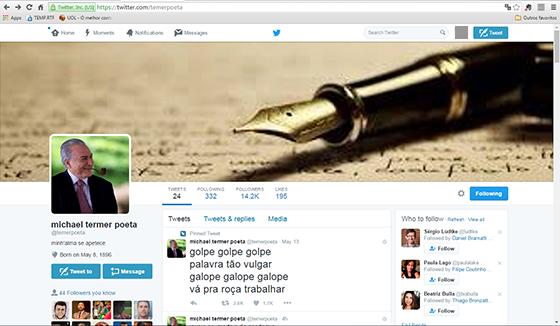 Perfil de @temerpoeta, página de paródia do presidente em exercício (Foto: REPRODUÇÃO)