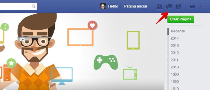 Acesse o menu de mensagens no Facebook (Foto: Reprodução/Helito Bijora)
